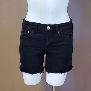 AEO Midi black cut off jean shorts size 4